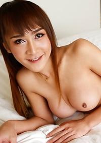 Thai ladyboy Mos gets a big white cock