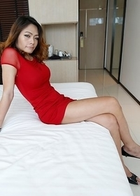 26yo hot Thai ladyboy Teena loves gets cover4ed in jizz from white cock