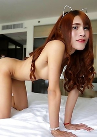 18 year old sexy Thai with long red hair and busty ladyboy Phone strips