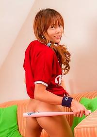 Teen dickgirl Diamond sprung and spread in a baseball jersey