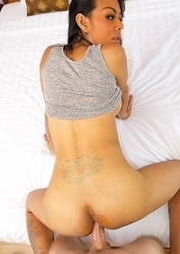 Lanta sets the mood by touching herself in a little grey tanktop with legs spread and sliding her blue panties to the side to show her growing girl co