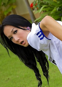 Wide spread ass from soccer playing Ladyboy Chompoo