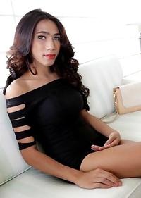 Slender sexy Thai Ladyboy Cheez enjoys ass packing from white tourist