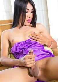 Thao ladyboy Helen sexy purple dress bareback