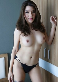 25yo busty Thai ladyboy Peach does a striptease for white tourist
