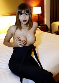 26yo sexy and busty Thai shemale May fucks and sucks white tourists cock and gets a facial