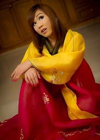 Ladyboy Patty rips her pantyhose wide open in Korean dress