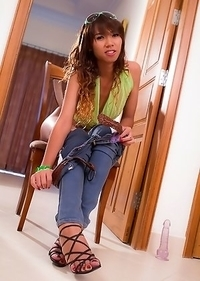 All natural Ladyboy Am in tight blue jeans and no panties